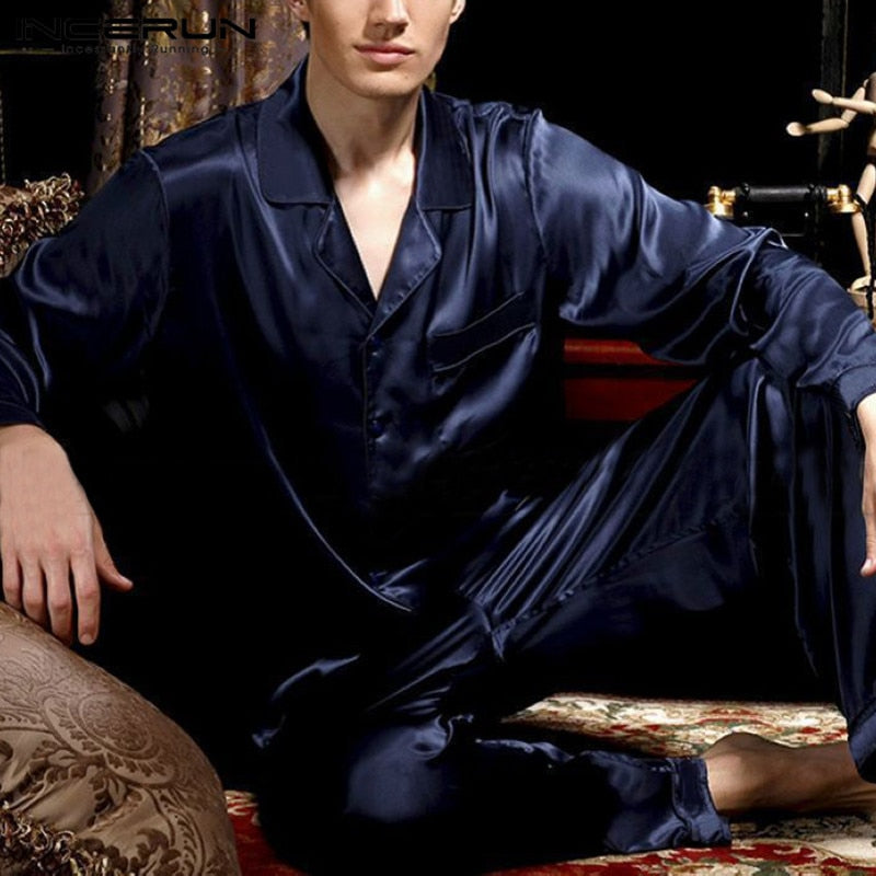 Silk Satin Men Pajamas Sets Soft Solid Sleepwear Long Sleeve Pants