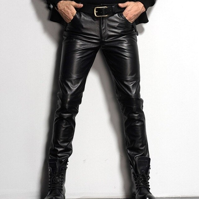 Italy Mens Genuine Leather Skinny Pants Plus Size Motorcycle Biker - Any.shopping