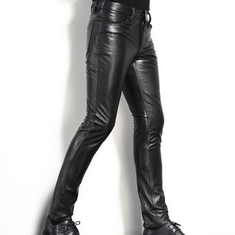 2020 New Fashion Mens Long Pants Genuine Leather Cow Slim Fit - Any.shopping