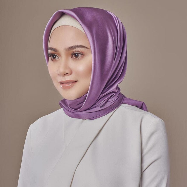 90*90cm Kerchief Silk Satin Hijab Scarf For Women Solid Color