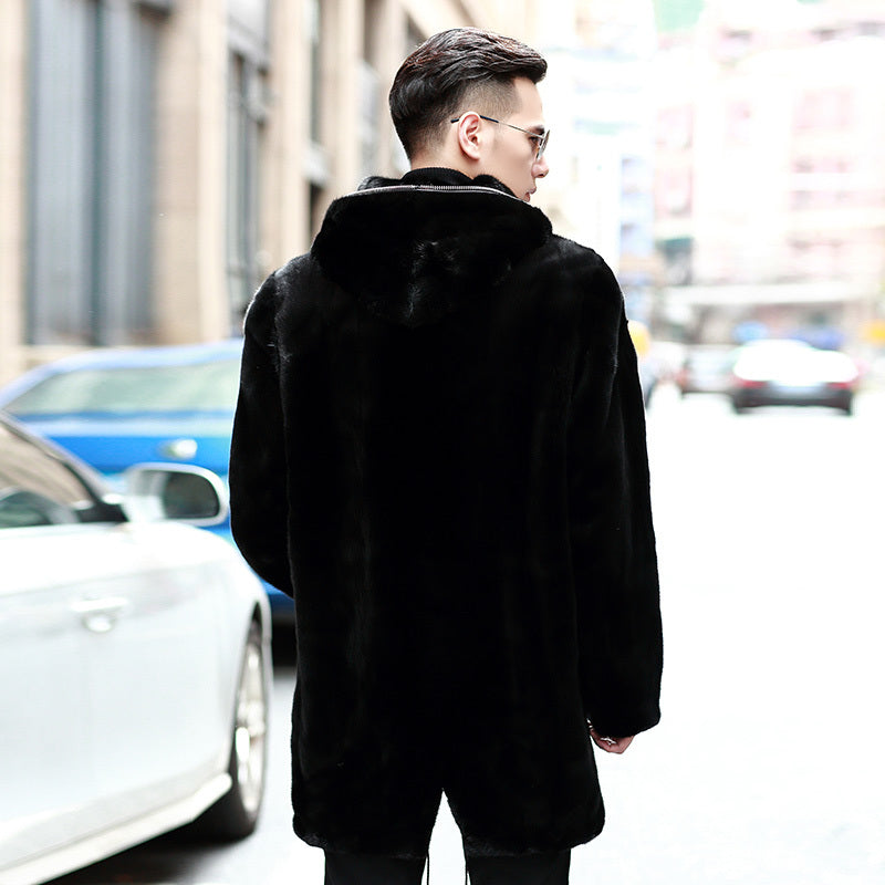 Real Mink Fur Coat Men Winter Jacket Hooded Long Plus Size Natural