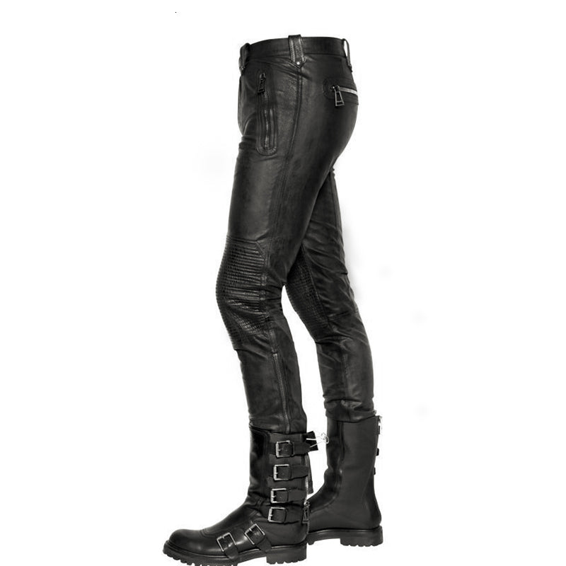 Fashion Real Leather Pants Men 2020 New Winte Motorstyle Straight