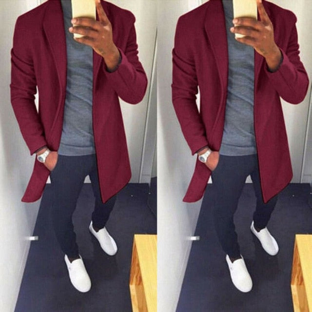 NEW Autumn Winter Men Casual Coat Thicken Woolen Trench Coat