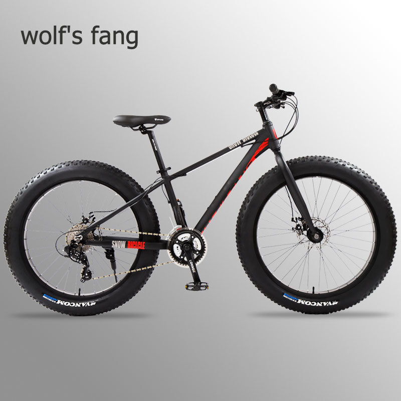 wolf's fang Bicycle full Mountain bike Fat bike Road bikes aluminium bicycle 26 snow Fat tire 24 speed mtb snow bicycles beach