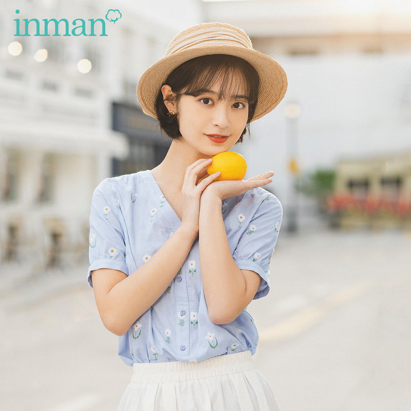 INMAN 2020 Summer New Arrival Pure Cotton Literary Flower Printed