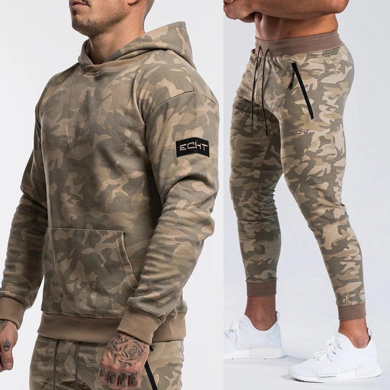 Brand Tracksuit Camo Hoodie Pants Sets Men Casual Sweatshirt - Any.shopping