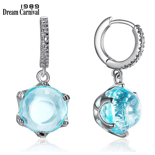 DreamCarnival1989 Hot Selling Special Cut Cubic Zircon Earrings for Woman Sky Blue Color Stone Elegant Jewelry Wholesale WE3819