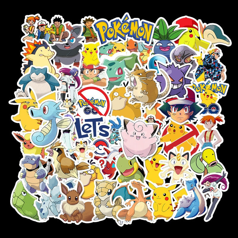 50pcs/set Game Pokemon Go Stickers Cosplay Prop Accessories Pikachu