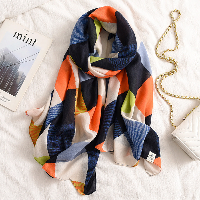 2020 new design brand spring women scarf fashion plaid print cotton