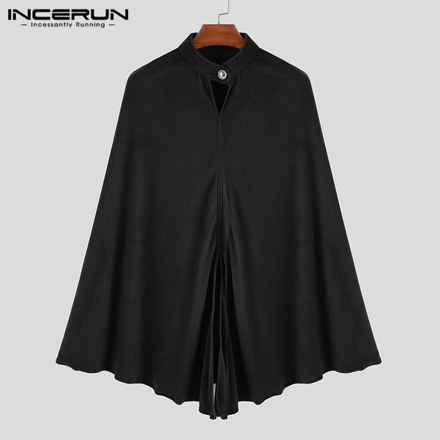 INCERUN Fashion Men Trench Cape Cloak Coat Outwear Casual Loose