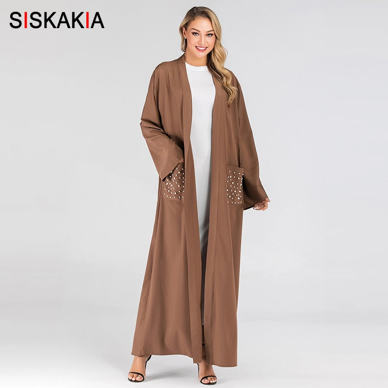 Siskakia Modern Muslim Open Abaya Pearl Pockets Patch Pure Casual