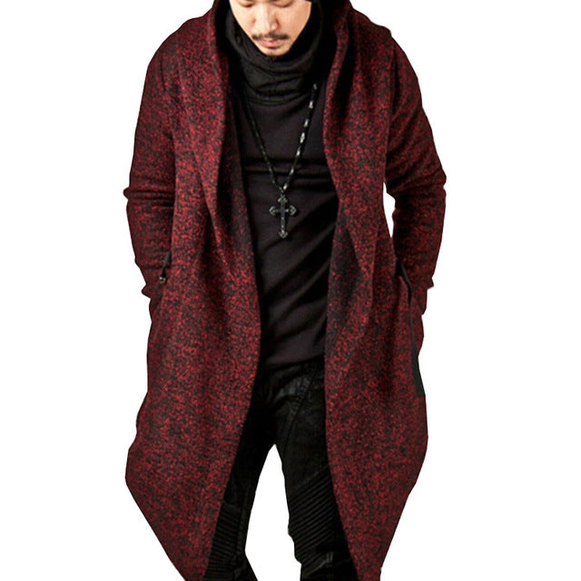 Steampunk Men Gothic Male Hooded Irregular Red Black Trench