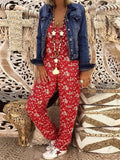 Women Flower Print Loose Jumpsuits Rompers V-neck Herem Pants