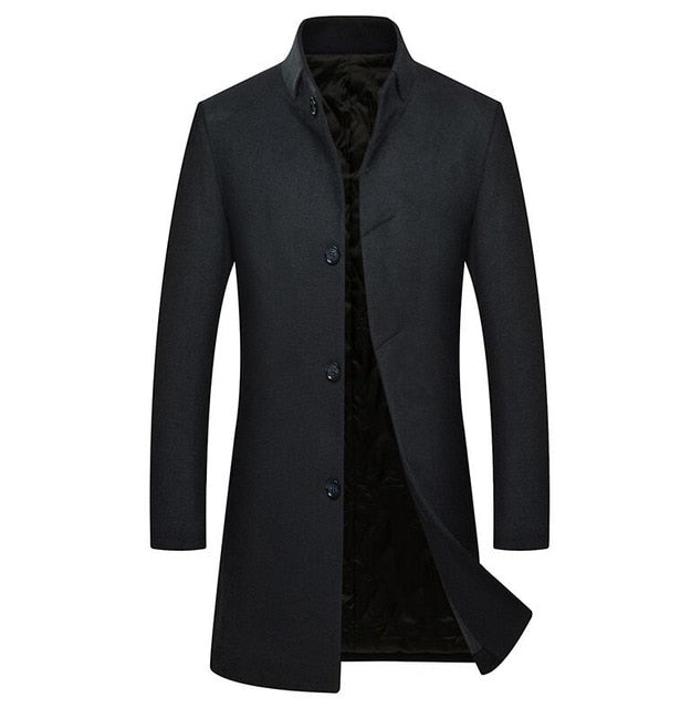YUNCLOS Men's Woolen Coat Winter Cashmere Jacket Single Breasted - Any.shopping
