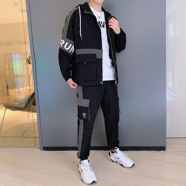 2020 Mens Cargo Pullover Streetwear Hooded Tracksuit 2 Pieces Sets