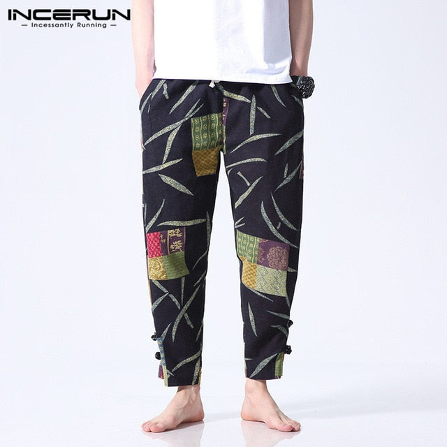 INCERUN Ethnic Floral Printed Men Pants Casual Wide Legs Pants