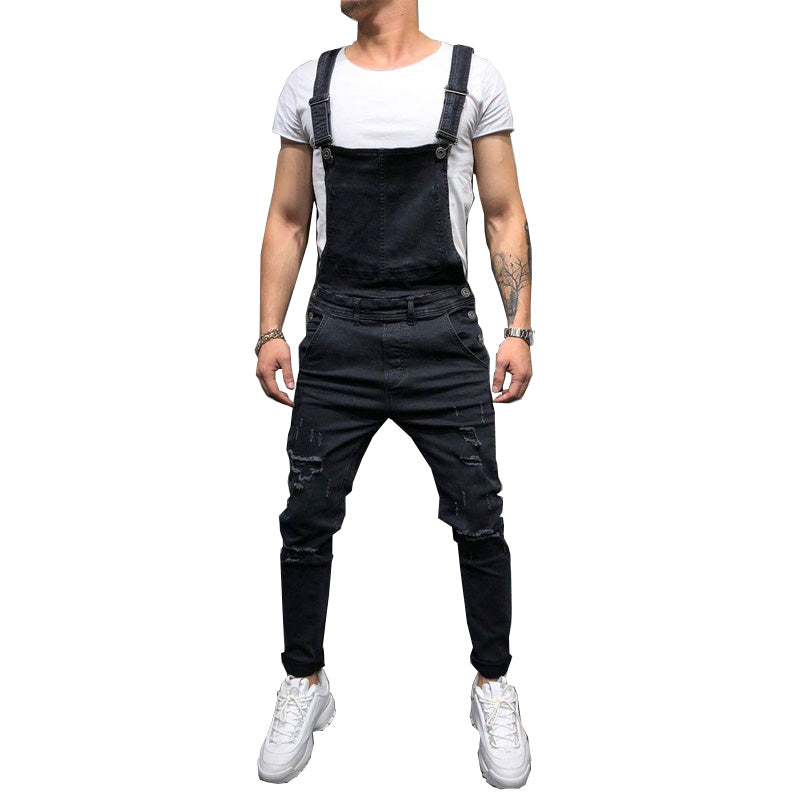 Fashion Men's Ripped Jeans Jumpsuits Hi Street Distressed Denim Bib - Any.shopping
