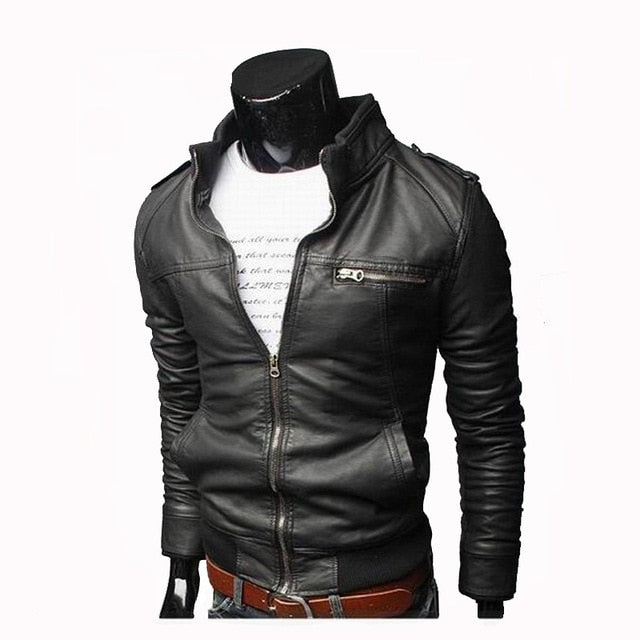 Men Faux Leather Jacket Zippers 2019 Men's Stand Collar Coat Spring