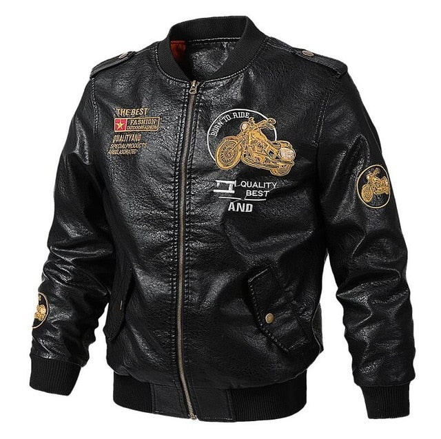 Men's Leather Jackets and Coats Male Motorcycle Leather Jacket Casual