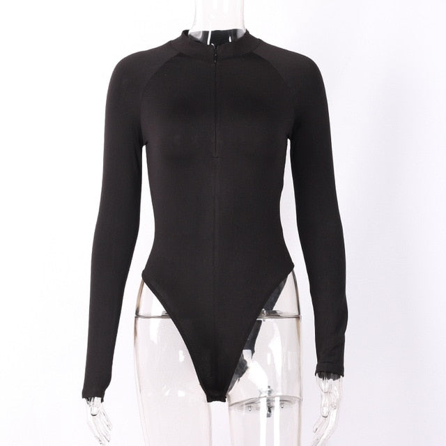 Evenworse Sexy Zipper Bodycon Jumpsuit 2020 Spring Fashion Long Sleeve
