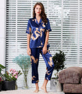 Couple Silk Satin Pajamas Pyjamas Set Long Sleeve Sleepwear Pijama
