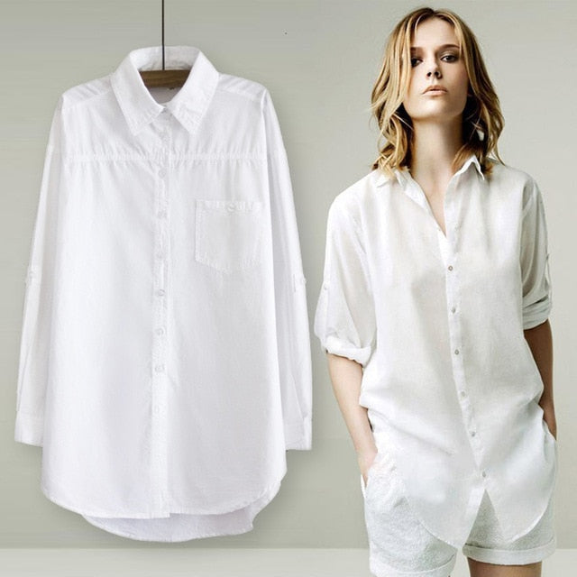 RICORIT Women Long Blouse Women White Shirt Office Ladies 100%