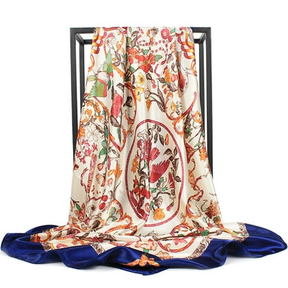 O CHUANG Women Silk Scarf Winter Print Foulard Square shawl