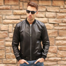 Large Size 5XL Sheepskin Slim Aviation Genuine Leather Bomber Jacket