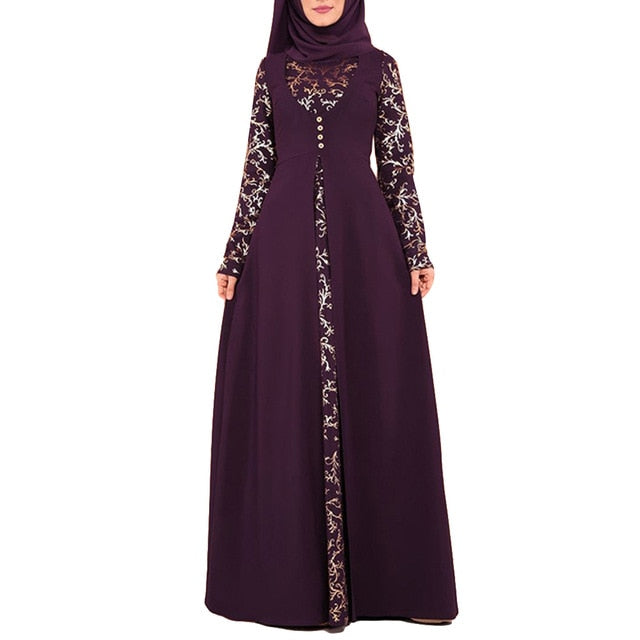 Party Elegant Floral Pattern Hot Stamping Muslim Women Long Sleeve