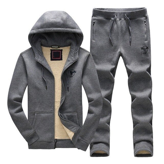 Winter New Casual Hooded Sweatshirt Mens Two Pieces Sets Brand