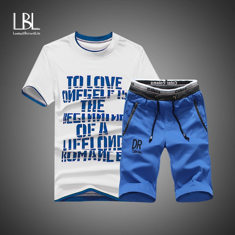 Summer Shorts Set Men Casual Outwear Slim Fit Mens Sweat Suits 2018