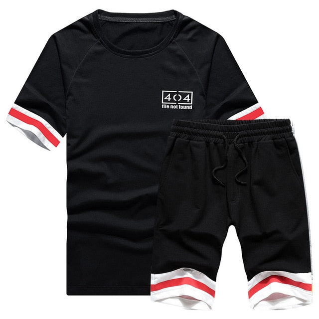 Summer Men Set New Short Sleeve T Shirts Two Piece Tops + Shorts