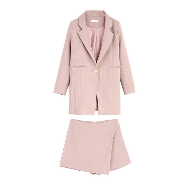 Fashion Women Skirt Suits One Button Notched Striped Blazer Jackets