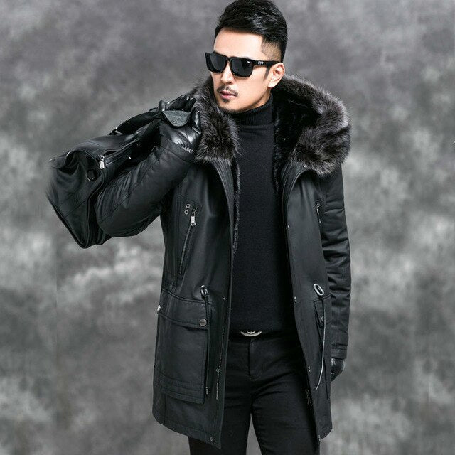 Genuine Leather Jacket Men Mink Fur Liner Parka Mens Leather Jacket - Any.shopping