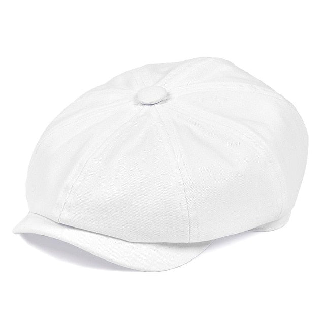 BOTVELA White Twill Cotton Newsboy Cap for Men Women Classic