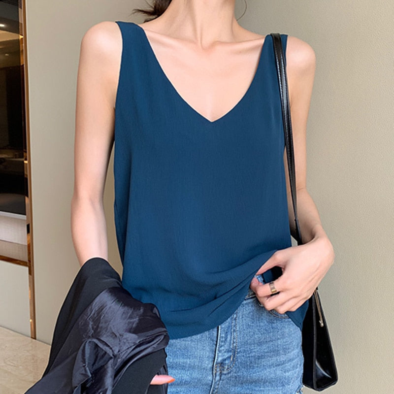 Womens Tops and Blouses Chiffon Women Blouses Sleeveless V-Neck - Any.shopping
