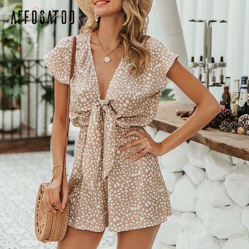 Affogatoo Sexy elegant bow sleeveless wide leg women rompers short