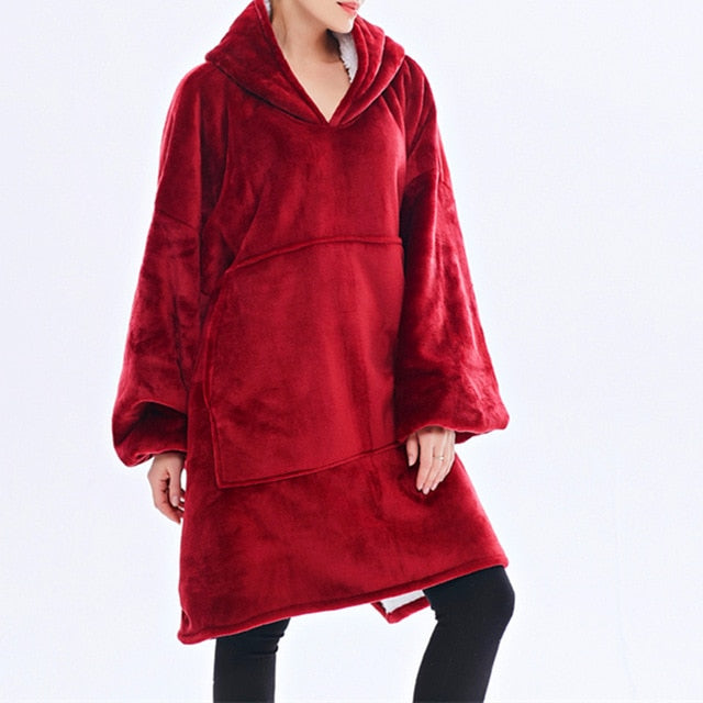 Women Blanket Sweatshirt Robe Winter Hoodies Outdoor Hooded