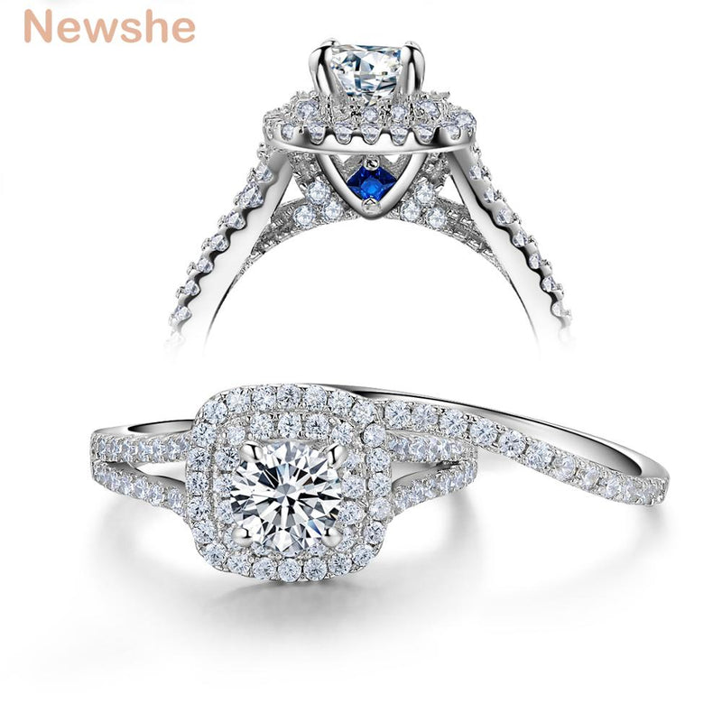 Newshe Solid 925 Sterling Silver Women's Wedding Ring Sets