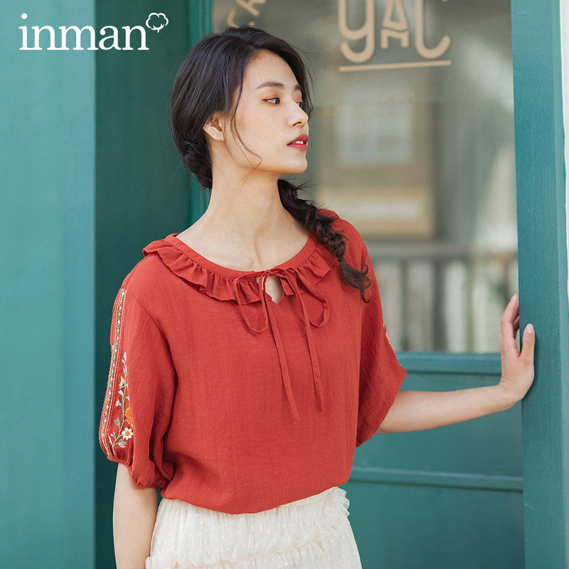 INMAN 2020 Summer New Arrival Sweet Lotus Leaf Collar Bowknot