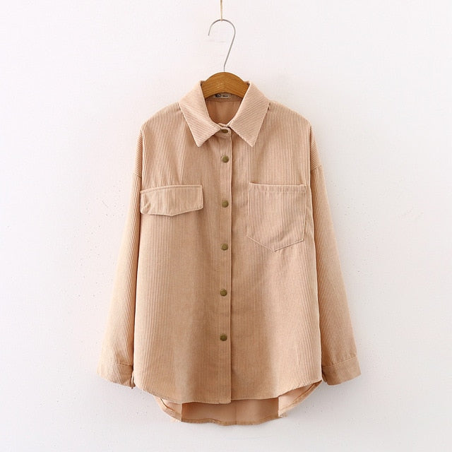 New Women Solid Corduroy Batwing Sleeve Vintage Blouse Turn-Down