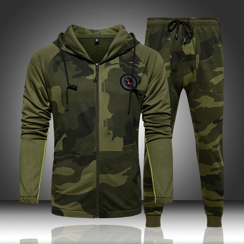Camo Men Tracksuit Hooded Outerwear Hoodie Set 2 Pieces Autumn - Any.shopping