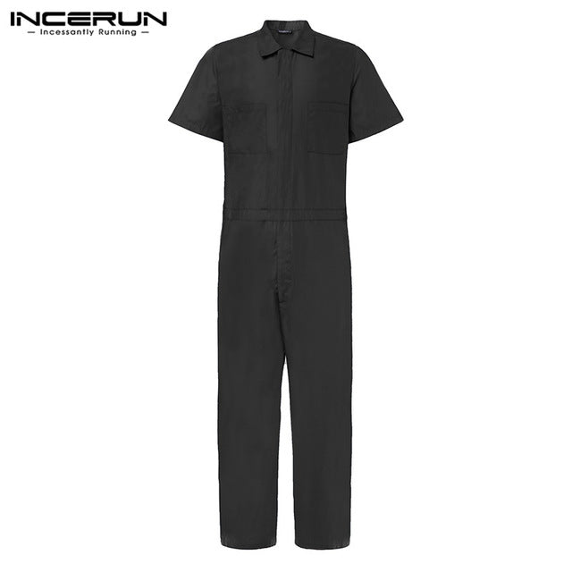 INCERUN Fashion Men Jumpsuits Shortsleeve Loose Cargo Overalls - Any.shopping