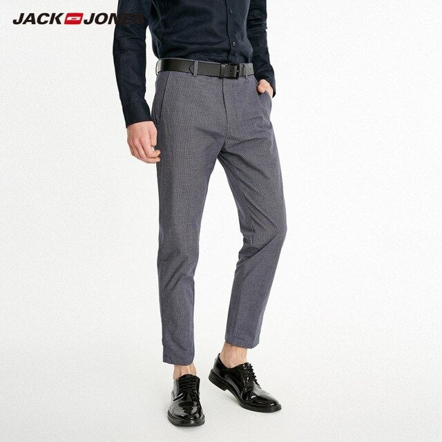 JackJones Men's 100% Cotton Business Smart Casual Plaid Printed Pants - Any.shopping