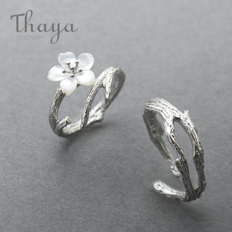 Thaya White Cherry Blossom Silver Ring s925 Silver