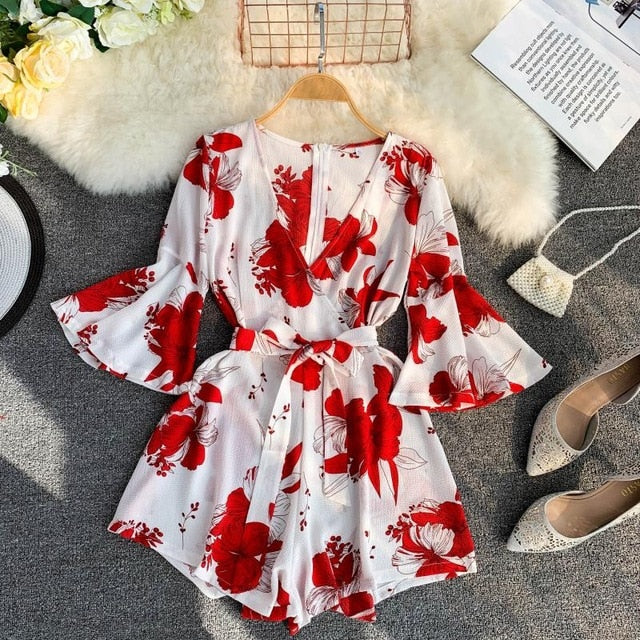 Nepole Chiffon Flower Print Women Jumpsuits Casual V-Neck Flare