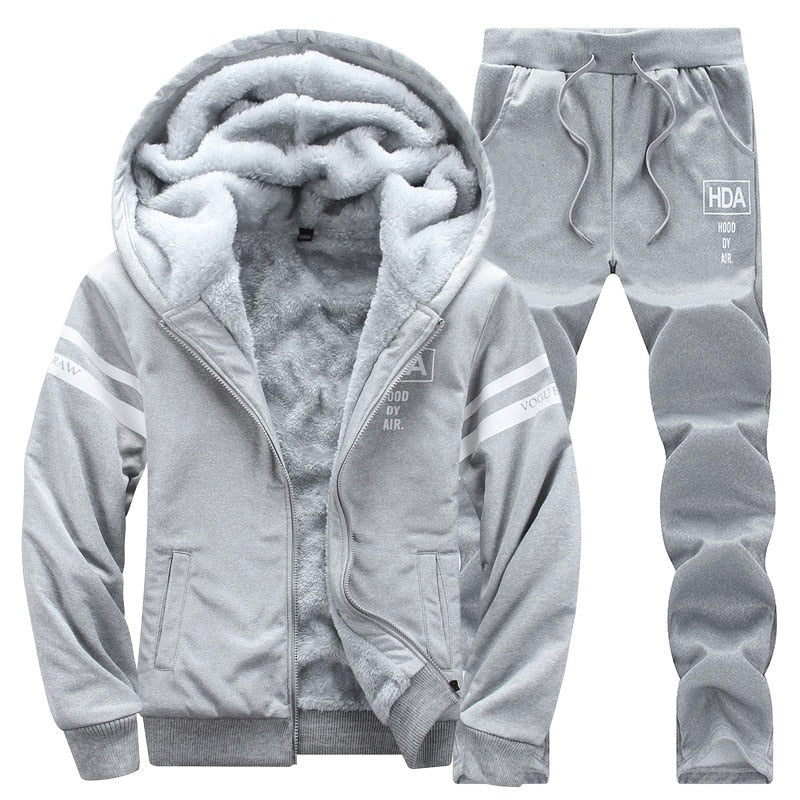 Causal Tracksuits Men Set hooded Thicken Fleece Hoodies + Sweatpant