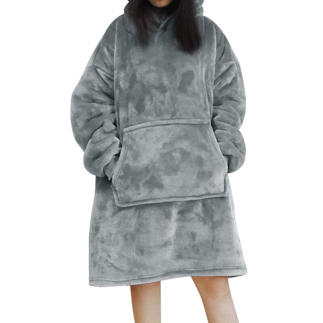 Women Blanket Sweatshirt Robe Winter Hoodies Outdoor