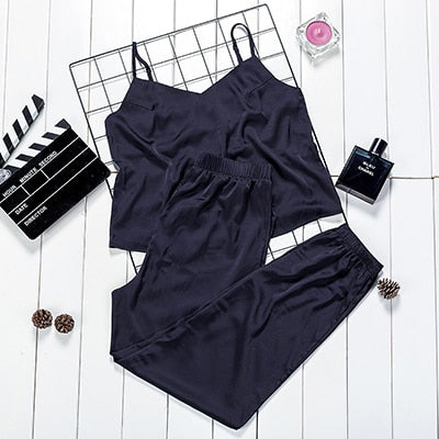 Suphis Sexy Navy Spaghetti Strap Cami Top And Satin Trousers Pajamas