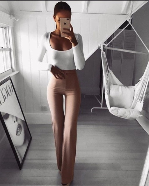2019 New Casual Retro Women Plain Palazzo Solid High Waist Flare